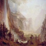 Albert Bierstadt (1830-1902)  The Domes of the Yosemite  Oil on canvas, 1867  115 7/8 x 180 inches (294.6 x 457.2 cm)  St. Johnsbury Athenaeum, St. Johnsbury